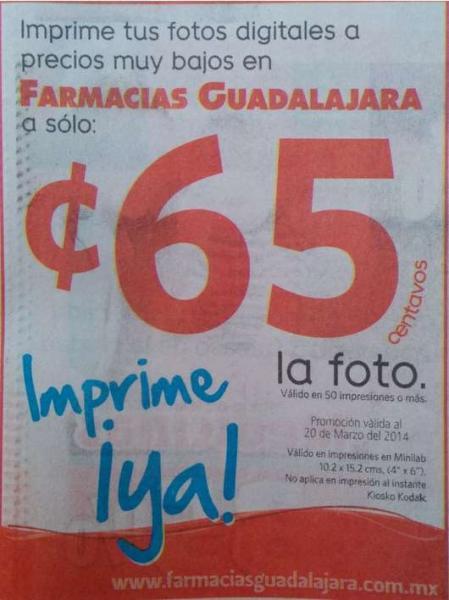Farmacias Guadalajara: impresión de fotos a 65 centavos con cantidad mínima