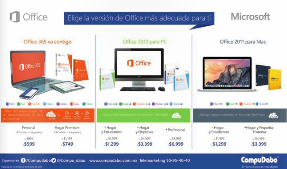 Compudabo: descuentos en Office (ejemplo Hogar Premium 365 5 PCs $749)