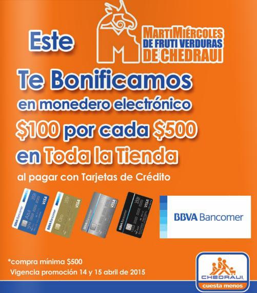 Chedraui: $100 de bonificación por cada $500 de compra con Bancomer