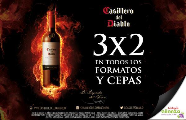 Bodegas Alianza: 3x2 en vinos Casillero del Diablo, $100 por litro de Bacardi y otras ofertas