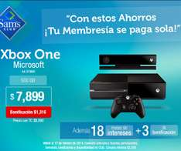 Sam's Club: Xbox One $6,345 con tarjeta Banco Walmart
