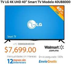 "WALMART.COM.MX: TV LG 4K UHD 40"" SMART TV $7,699"