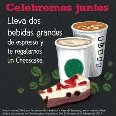 Starbucks: cheesecake gratis comprando dos bebidas