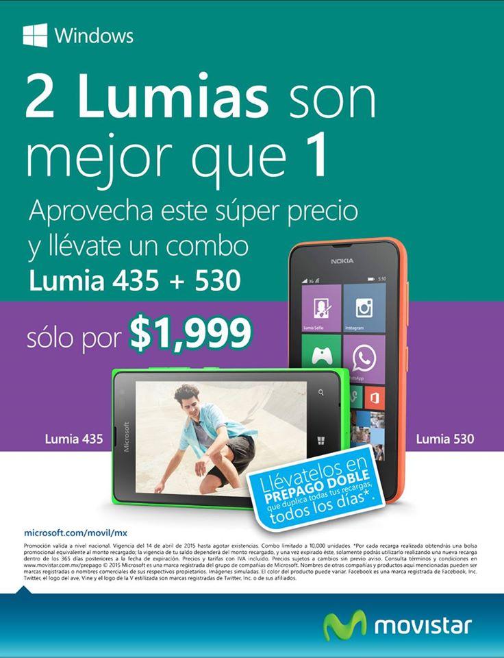 Movistar: Lumia 435 + Lumia 530 a $1,999