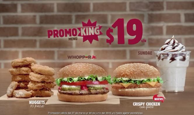 Burger King: nuevo menú Promo King (productos $19)