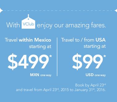 Volaris: Vuelos a $499 pesos destinos nacionales y a 99 dlls a estados unidos con Vclub.