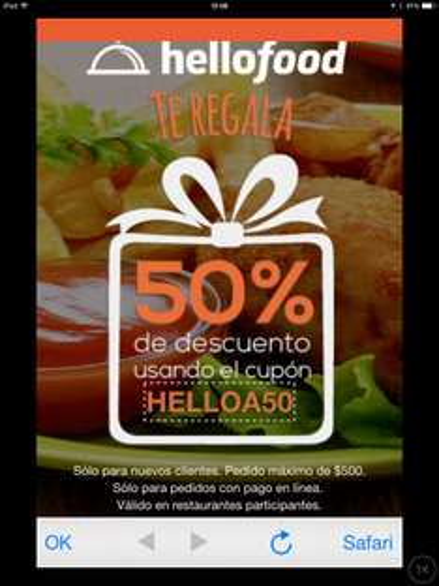 Nuevo Cupón 50% descuento en Hellofood.
