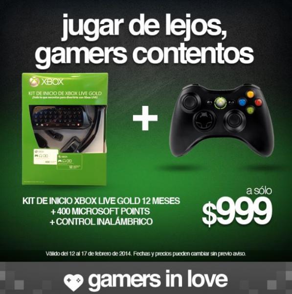 Gamers: Kit de inicio Xbox Live Gold Kit 12 meses, 400 MP y control inalámbrico $999
