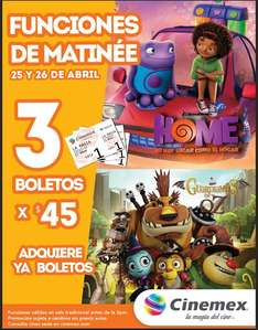 Cinemex: 3 boletos para matinée de Home o Guardianes de Oz por $45