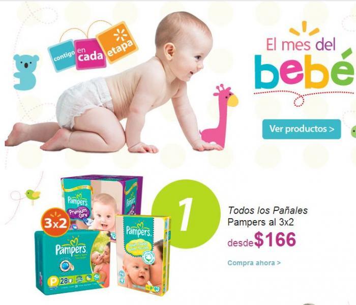 Walmart: 3x2 en pañales Pampers