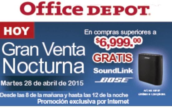 Venta Nocturna Office Depot: SOUNDLINK BOSE gratis en compras de $6,999 o más