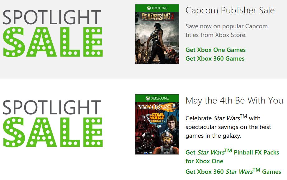 Xbox Store: venta especial de Capcom y Star Wars + delas with gold
