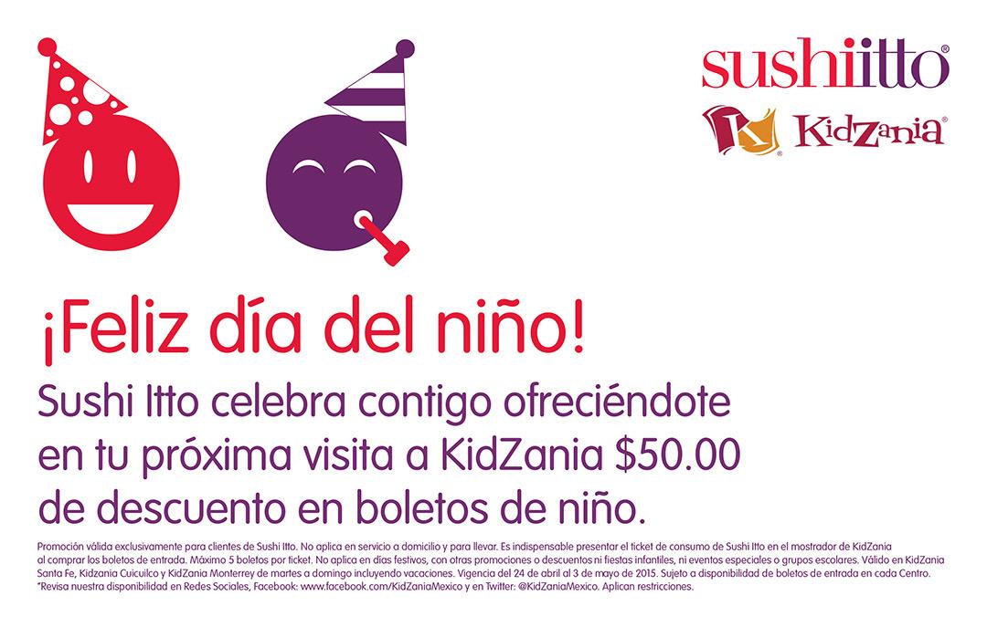 $50 de descuento en boletos de niño para Kidzania con ticket de Suhiitto