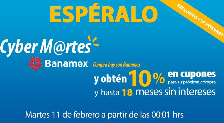 Cyber Martes Banamex en Walmart: 10% de bonificación en toda la tienda