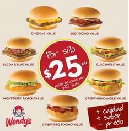 Wendys: menú de hamburguesas a $25 y combos a $45