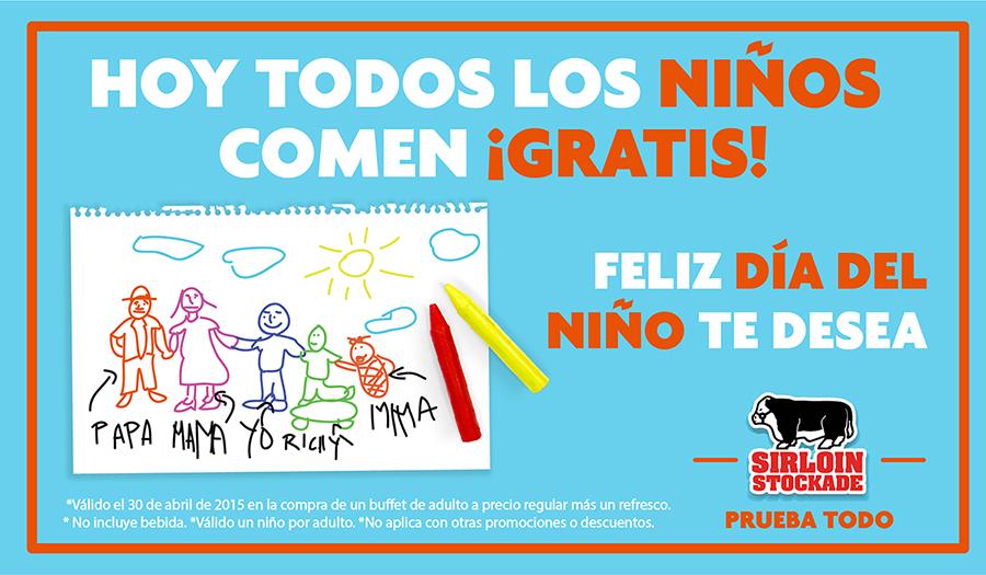 Promoción día del niño: Sirloin Stockade: niños gratis con consumo de adulto