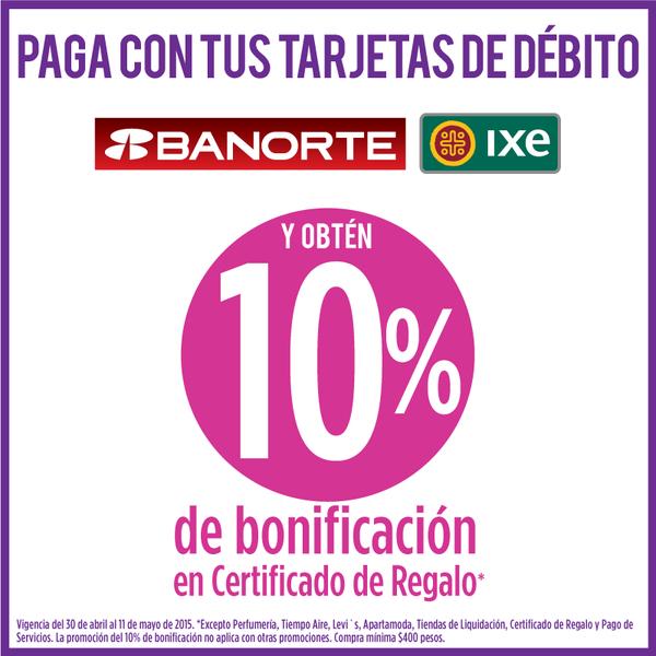 Suburbia: 10% en Certificado de Regalo al Pagar con Tarjeta de Débito Banorte e IXE