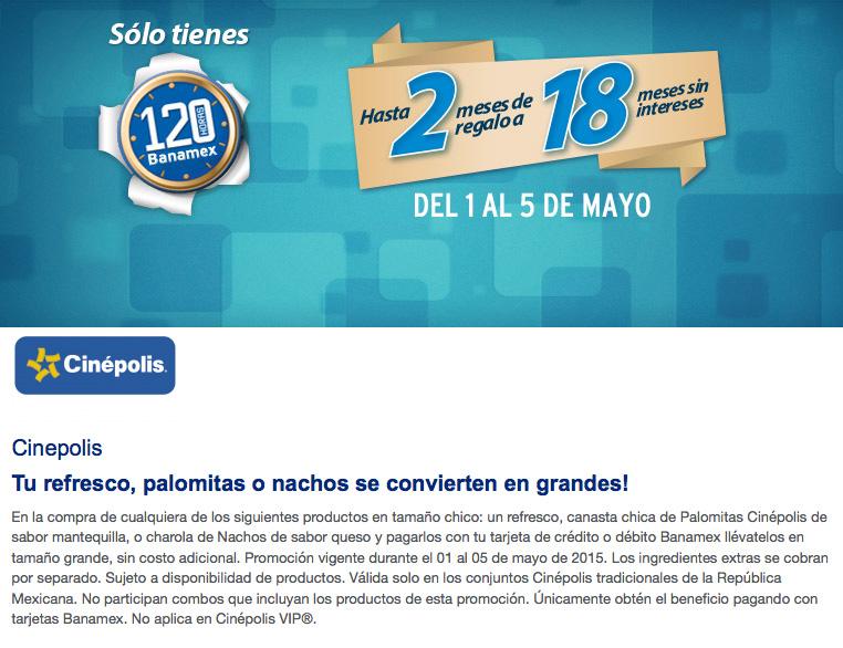 Cinepolis: Compra refresco, palomitas o nachos chicos y pagando con Banamex se vuelven grandes