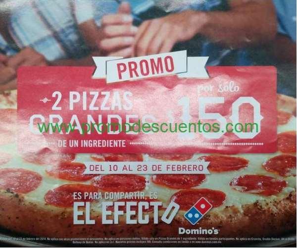 Domino's Pizza: 2 pizzas grandes a $150