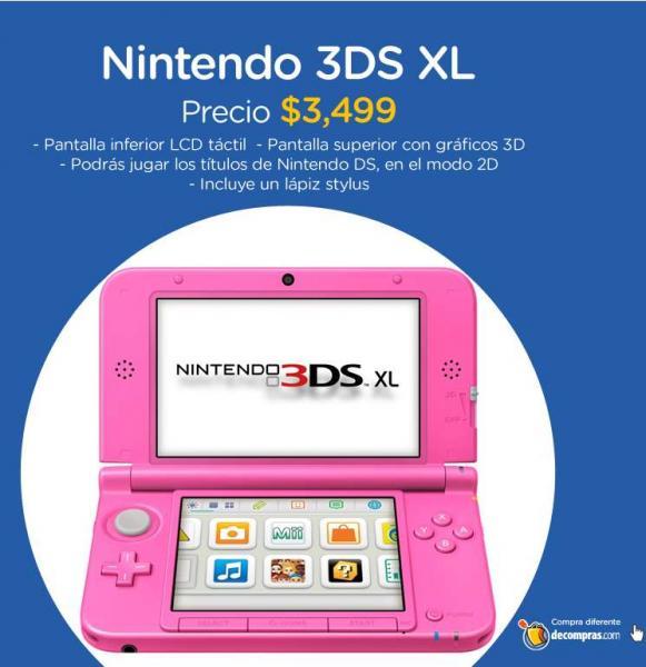 Decompras: Nintendo 3DS XL $2,974 y 3 meses sin intereses con PayPal