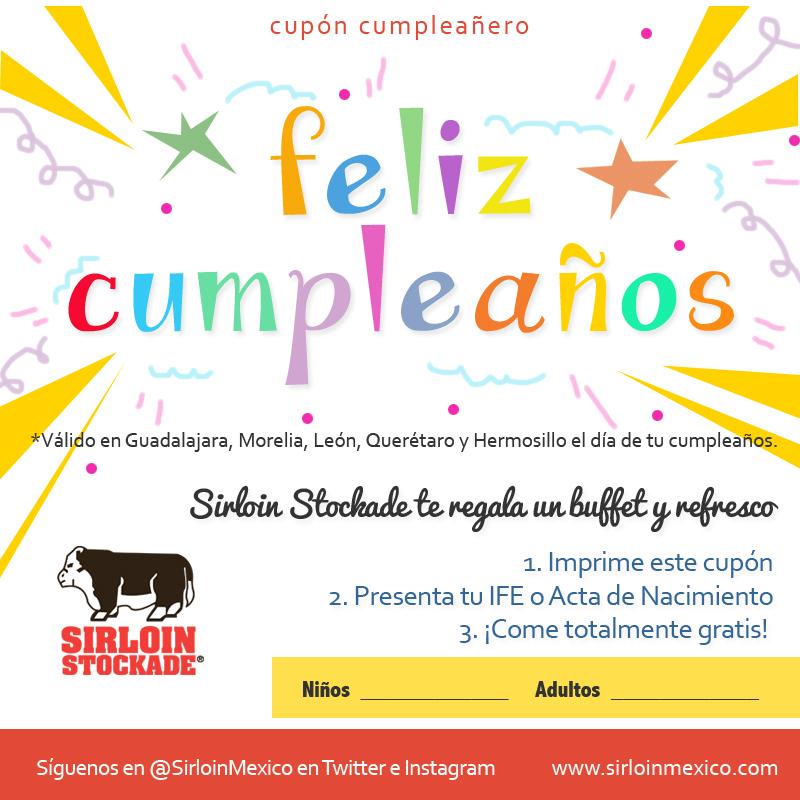 Sirloin Stockade: Comida buffet y refresco gratis el día de tu cumpleaños