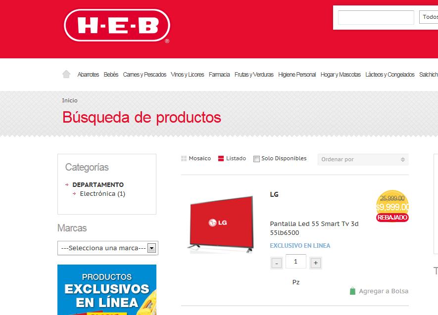 """HEB: Pantalla LG LED Smart TV 3D de 55"""" $9,999"""