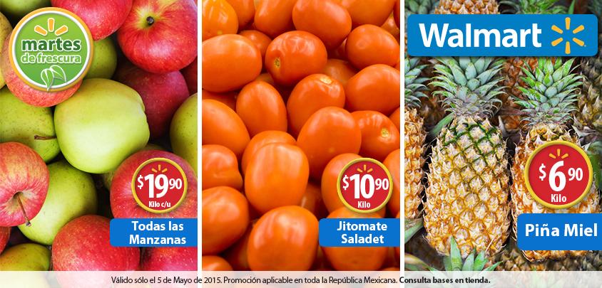 Walmart: Martes De Frescura 5 de mayo: Piña 6.90 Kilo y otras ofertas