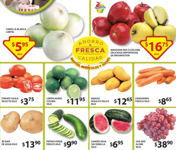 Ofertas de frutas y verduras en Soriana 5 de mayo