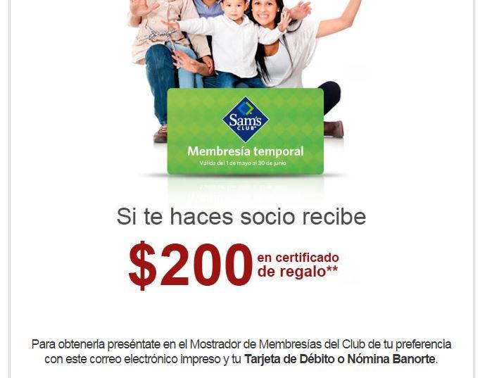 Membresía Sams Temporal 60 días gratis con Tarjetas Banorte