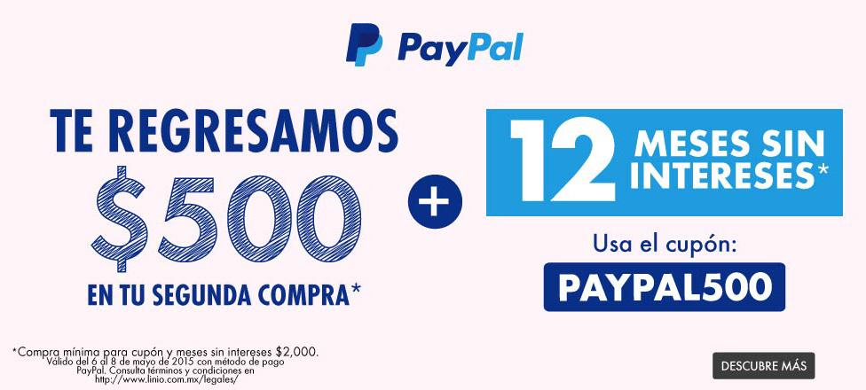 Linio: Cashback de $500 y 12 meses sin intereses con Paypal