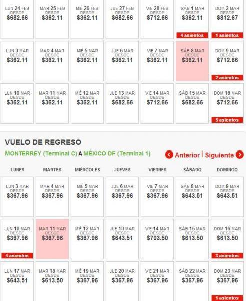 Vivaerobus: vuelos desde $5 + impuestos. Ejemplo DF a Monterrey $730 redondo