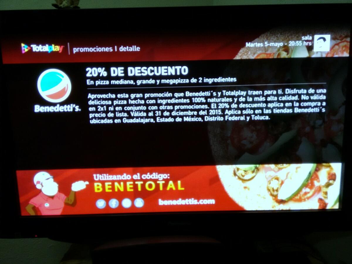 20% descuento en Benedettis Pizza