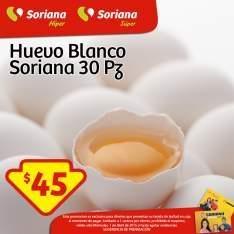 Soriana: huevos con 30 piezas $45