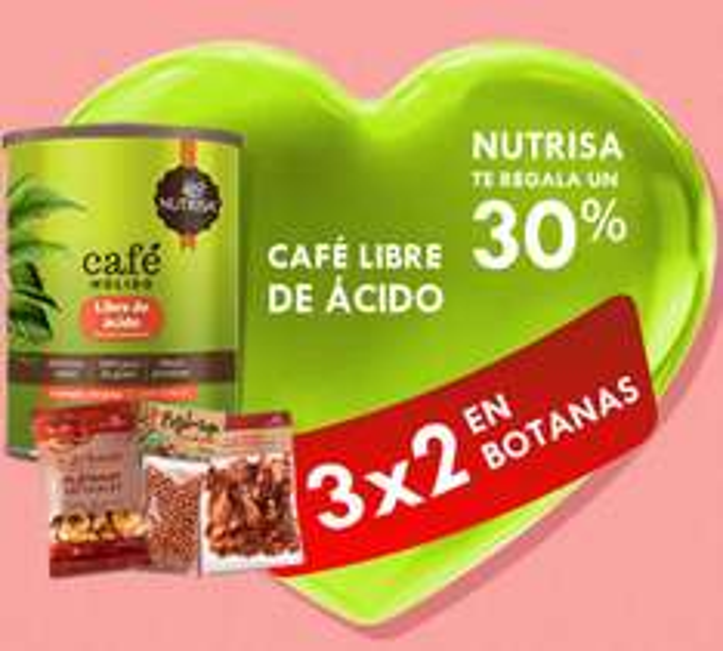 Nutrisa: 3x2 en botanas, 30% menos en café libre de ácido y más