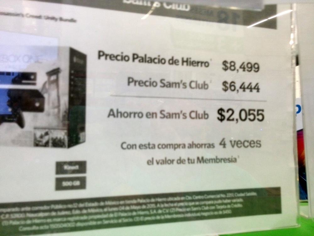 Sam's Club:  Bundle Xbox One con kinect y Asassins Creed $6,444 + $1,074 de bonificación