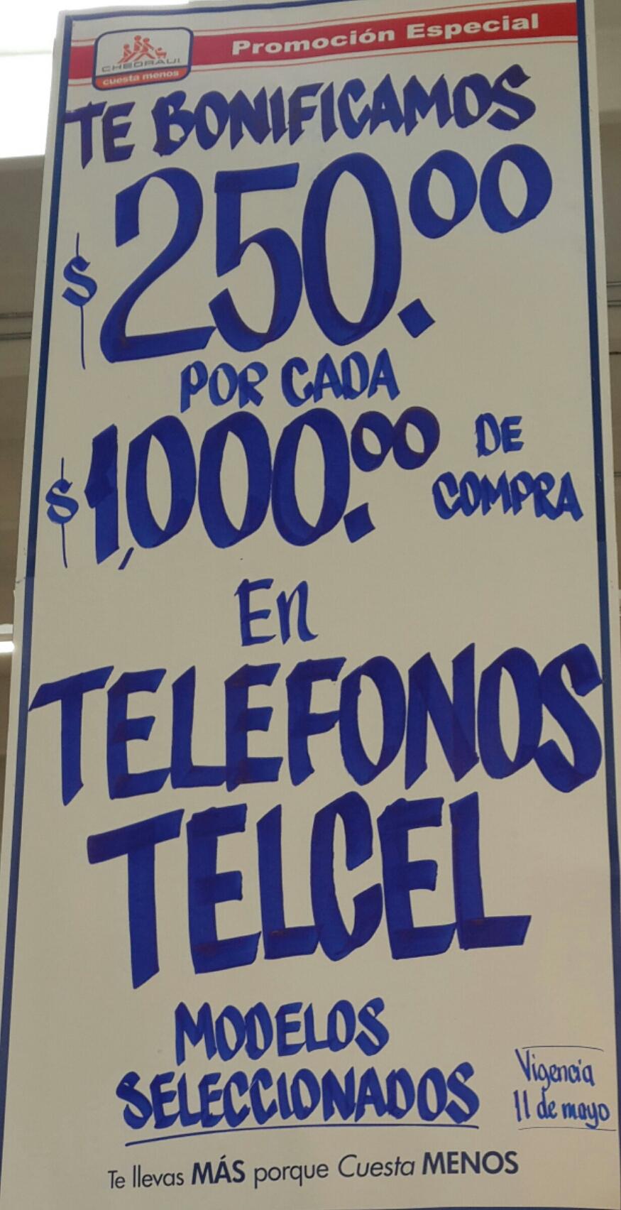 Chedraui: $250 bonificación por cada $1,000 en celulares Telcel (incluye iPhone)