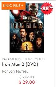 Linio: Iron Man 2 formato DVD $29