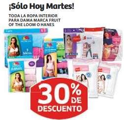 Soriana: 30% de descuento en ropa interior Fruit of the Loom y Hanes para mujer