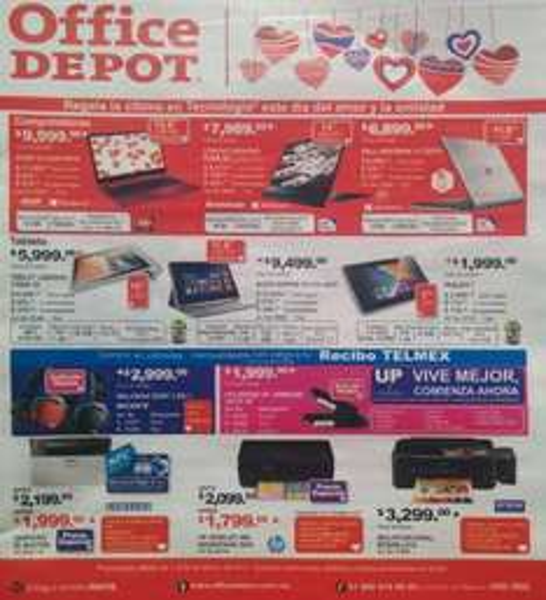 Folleto de ofertas en Office Depot febrero de 2014