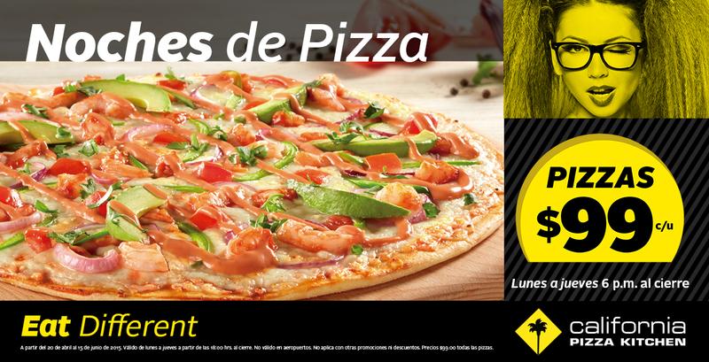 CPK: Todas las Pizzas $99 y Bebidas con alcohol $39
