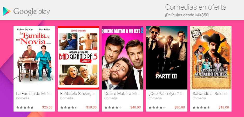Google Play: Comedias en Oferta Desde $50