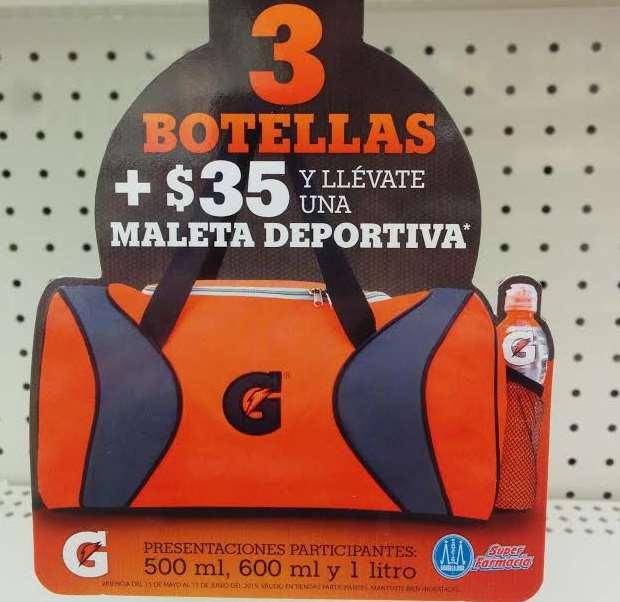 Farmacias Guadalajara: maleta a $35 comprando 3 Gatorades