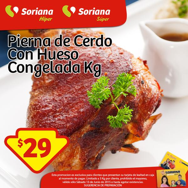 Soriana: Pierna de cerdo con hueso congelada a $29