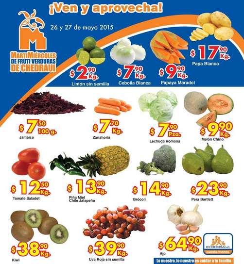Ofertas de frutas y verduras en Chedraui 26 y 27 de mayo
