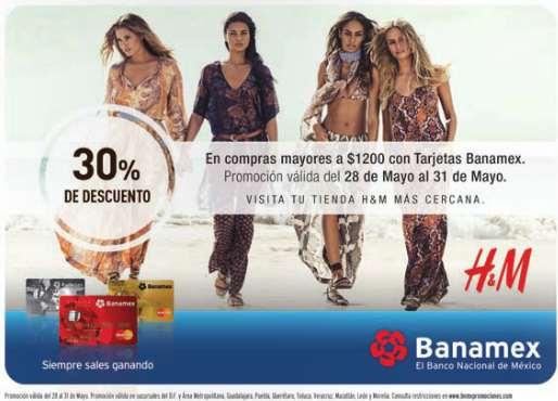 H&M: 30% de descuento en toda la tienda con compra mínima Banamex