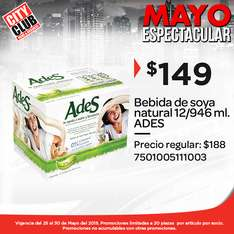 City Club: 12 leches de soya de 946ml por $149