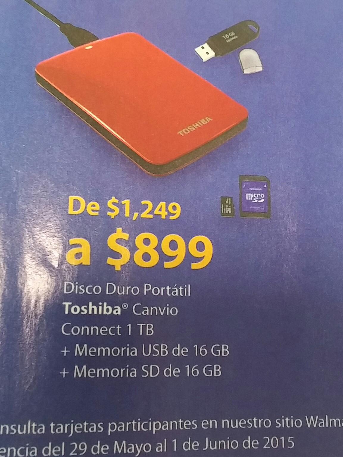 Promociones Hot Sale en Walmart: Disco Duro portatil Toshiba 1TB + USB de 16GB +micro SD de 16GB a $899