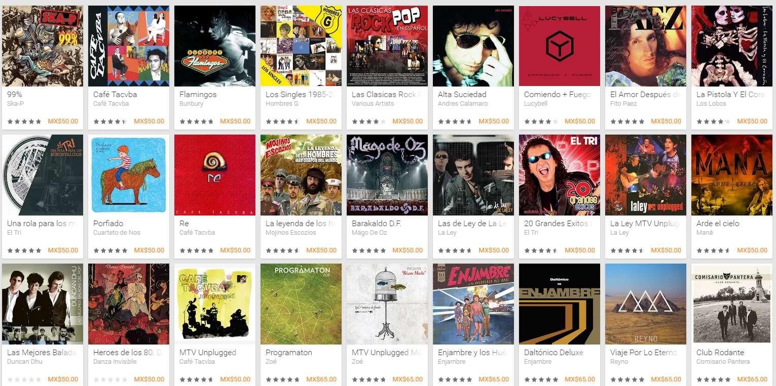Google Play: descuentos en rock en español