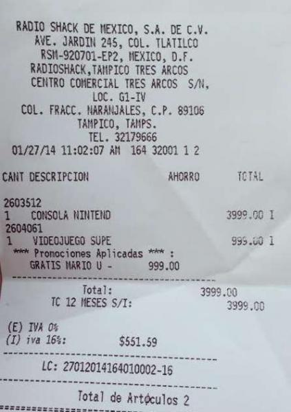 RadioShack: WiiU con Nintendo Land y Super Mario Bros U $3,999 y 12 MSI