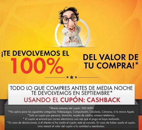Linio: promoción de cashback de tu compra o 10% de descuento en todo